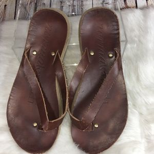 NORMA KAMALI BROWN LEATHER THONG SANDALS-9